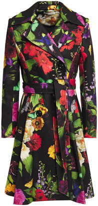 Alice + Olivia Leila Pleated Floral-print Felt Coat