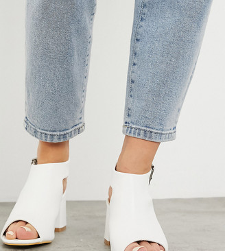 Simply Be extra wide fit heeled sandals in white