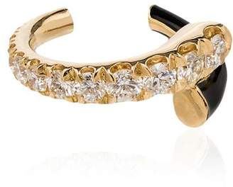 Melissa Kaye Lola 18K yellow gold diamond and enamel ear cuff