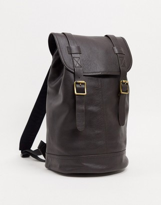 Asos DESIGN leather backpack in brown with burnishing and double straps