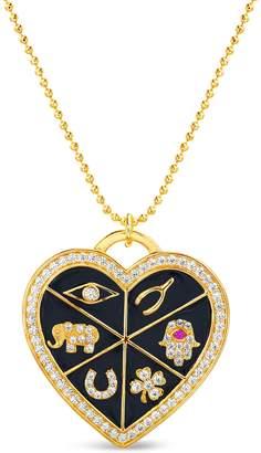 Lesa Michele Enamel Heart Pendant Necklace