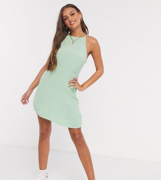 Miss Selfridge Petite polka-dot halterneck mini dress in green