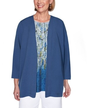 Alfred Dunner Petite Palo Alto Layered-Look Necklace Top