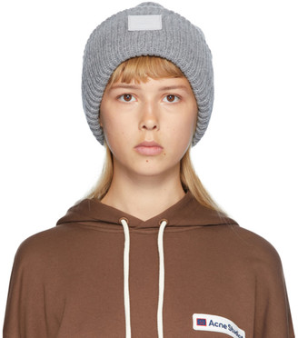 Acne Studios Grey Rib Knit Patch Beanie