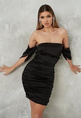 Missguided Black Satin Ruched Mini Dress
