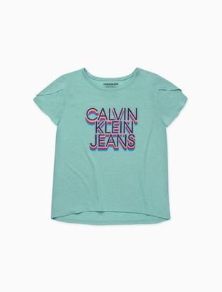 Calvin Klein Big Girls Stacked Logo Tulip Sleeve T-Shirt