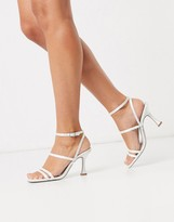 Asos Design DESIGN Hailee mid-heeled sandals in ivory
