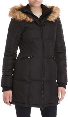 Noize Faux Fur-Trim Hooded Coat