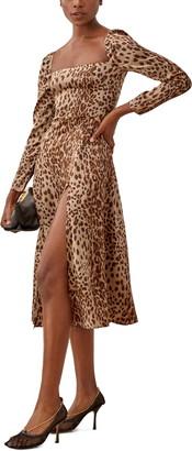 Reformation Maryanne Leopard Long Sleeve Midi Dress