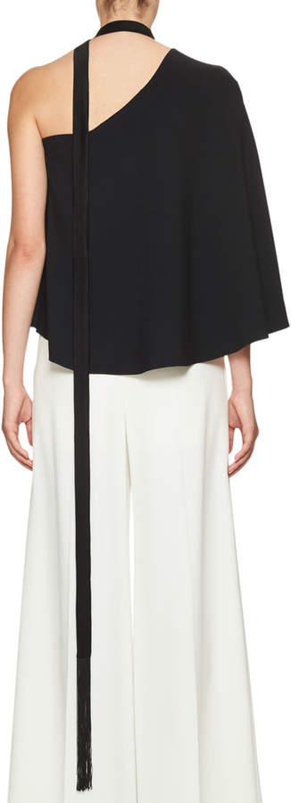 Roland Mouret Hurley One-Shoulder Ruffle Top, Black