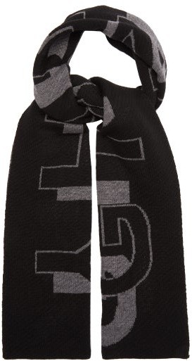 Givenchy Logo-jacquard Ribbed-wool Scarf - Mens - Grey