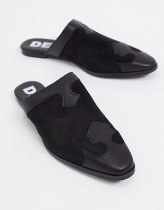 Depp leather western flat mules in black