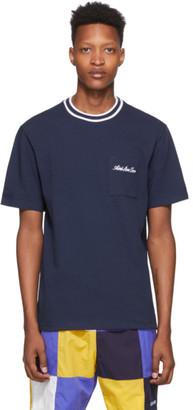 Leon Aime Dore Navy Striped Collar T-Shirt