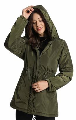 iLoveSIA Women's Waterproof Jacket Faux Fur Lined with Hooded Coat Arm Green UK 12