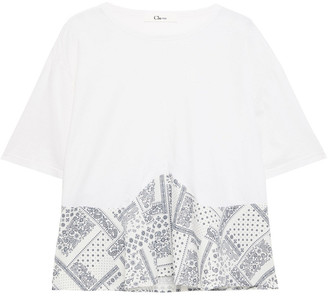 Clu Printed Cotton-poplin And Jersey Top