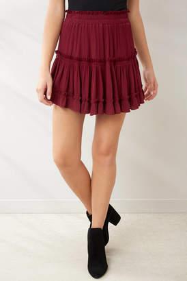 Juniper Blu Burgundy Tiered Ruffle Mini Skirt Burgundy L