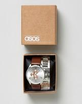 Asos Interchangeable Bracelet Watch Set in Silver