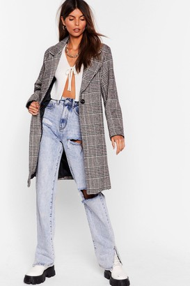 Nasty Gal Womens Check Up on 'Em Button-Down Trench Coat - grey - S