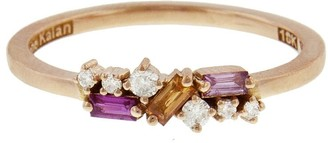 Suzanne Kalan Round White Diamond and Sapphire Baguette Rose Gold Ring