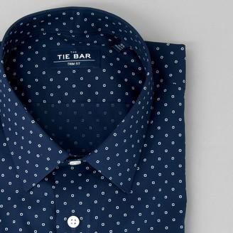 Tie Bar Printed Dot Navy Dress Shirt