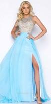 Mac Duggal Iridescent Stone Beaded A-Line Chiffon Prom Dress