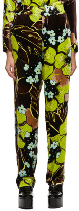 Dries Van Noten Brown Velvet Floral Trousers