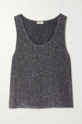 Saint Laurent Metallic Silk-blend Tank - Silver