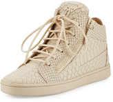 Giuseppe Zanotti Python-Embossed Leather High-Top Sneaker, Beige