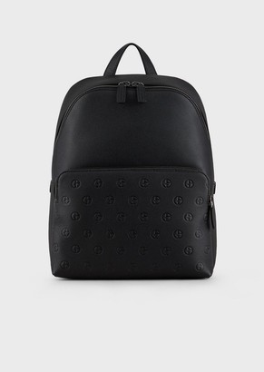Giorgio Armani Leather Backpack With Embossed Logo Pocket