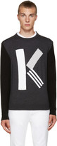"Kenzo Grey Textured Wool ""K"" Sweater"