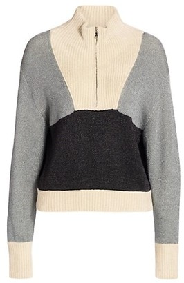 3.1 Phillip Lim Front-Zip Double-Face Lurex Pullover Sweater