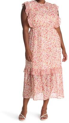 Caslon Sleeveless Smocked Neck Tiered Maxi Dress (Plus Size)