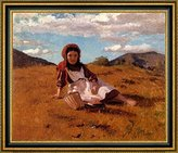 Canvas Art USA The Picnic Basket by John George Brown - Framed Canvas Art Print - Ready to Hang