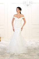 May Queen - RQ7502 Laced V-Neck Trumpet Dress