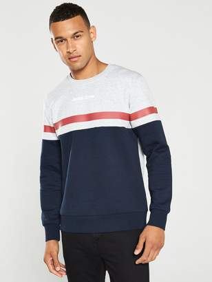 Jack and Jones Caine Cut And Sew Crew Neck Sweater - Navy/Grey