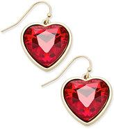 Thalia Sodi Gold-Tone Red-Stone Heart Drop Earrings, Only at Macy's