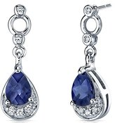 Peora Simply Classy 2.00 Carats Created Sapphire Dangle Earrings in Sterling Silver