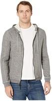 John Varvatos Pelham Long Sleeve Double Knit Slub Mouline Full Zip Hoodie with CO K4743V4B (Nickel) Men's Clothing
