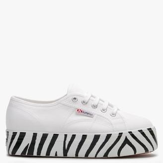 Superga 2790 Cotw Printed Foxing White Canvas Flatform Trainers