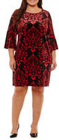Studio 1 3/4 Sleeve Damask Sheath Dress-Plus