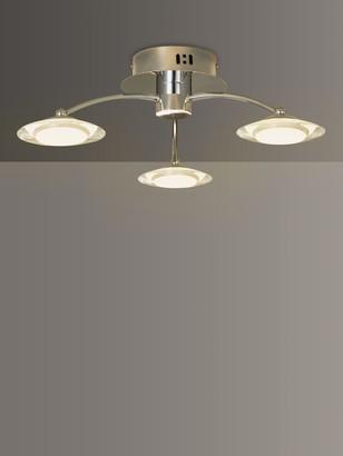 John Lewis & Partners Jasper LED Semi Flush 3 Arm Ceiling Light, Chrome