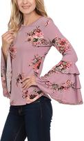Celeste Dark Pink Flower Bell-Sleeve Tunic - Plus