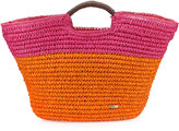 Capelli of New York Large Straw Market Tote Bag, Orange/Pink