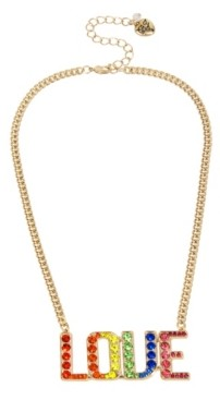 """Betsey Johnson Rainbow Stone Love Pendant Necklace in Gold-tone Metal, 16"""" + 3"""" Extender"""