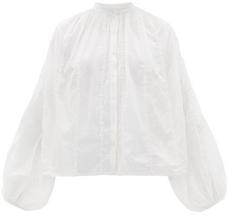 Thierry Colson Slava Balloon-sleeve Embroidered Cotton Blouse - Womens - White