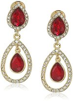 "Anne Klein Ear Spectacular"" Gold-Tone Red Double Drop Clip-On Earrings"