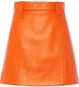 Prada Leather Fitted Mini Skirt