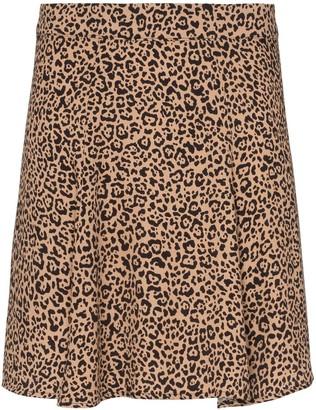 Reformation Flounce leopard print mini skirt
