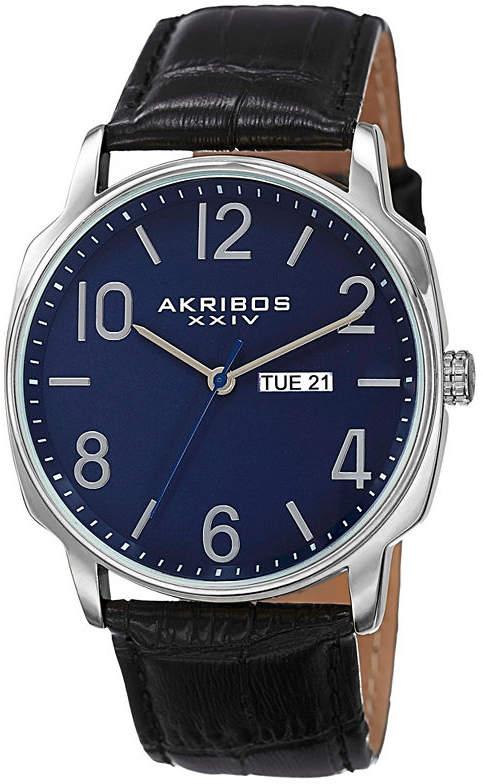 Akribos XXIV Mens Black Strap Watch-A-801bu