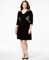 Calvin Klein Plus Size Colorblock V-Neck Sweater Dress